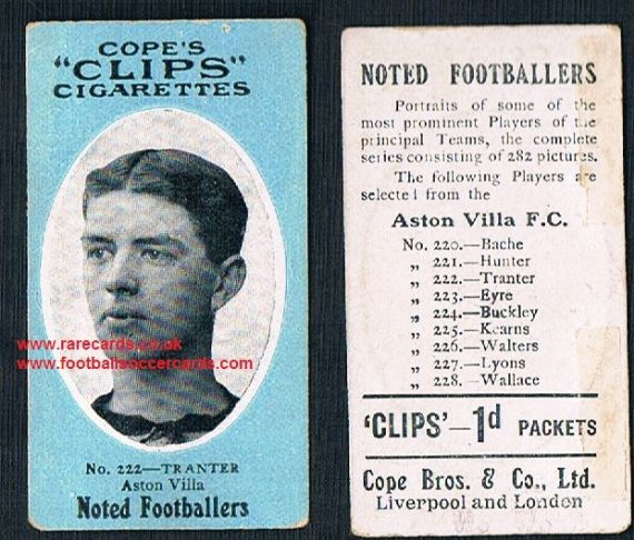 1909 Cope's Clips 2nd series Noted Footballers, 282 back, 222 Tranter Aston Villa